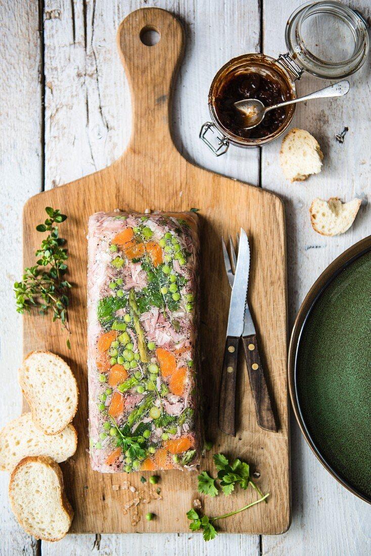 Ham hock terrine with bread and chutney