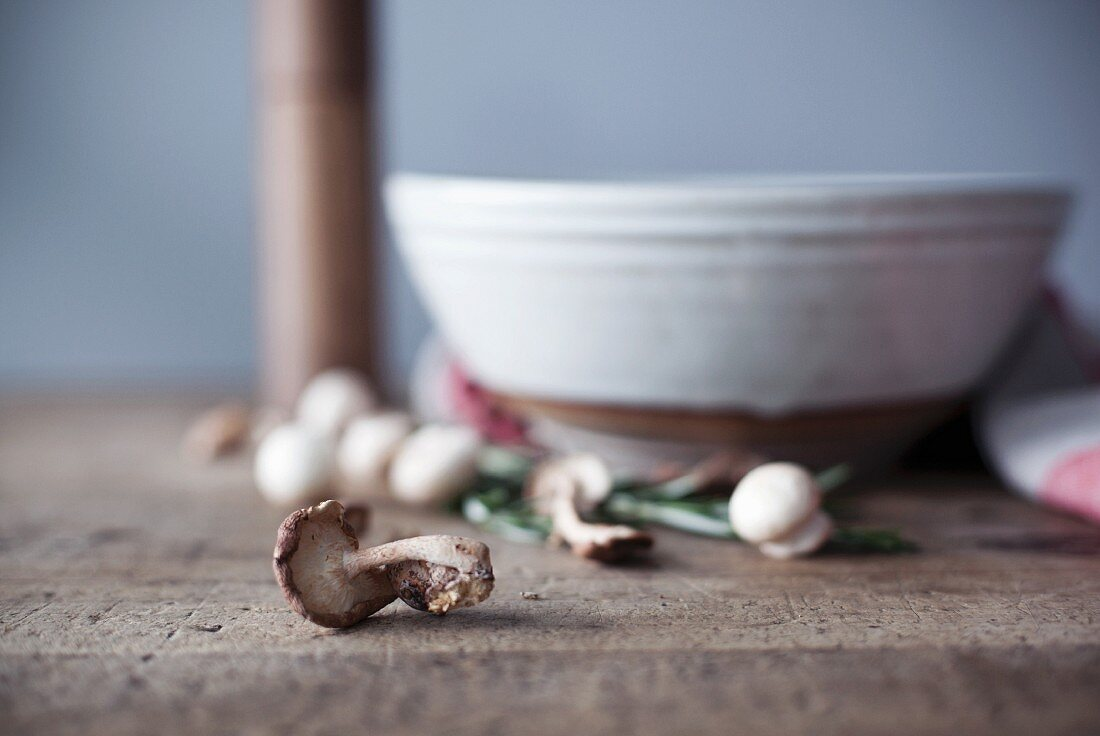 An arrangement of fresh mushrooms with a ceramic bowl in the background