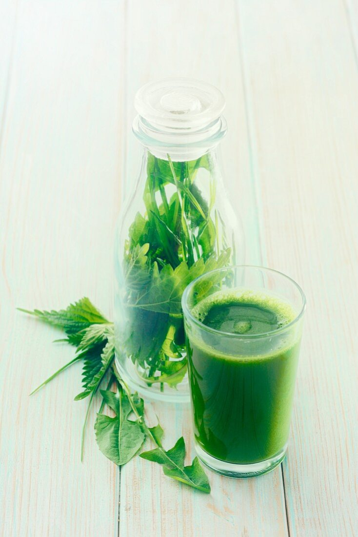 A green smoothie with herbs