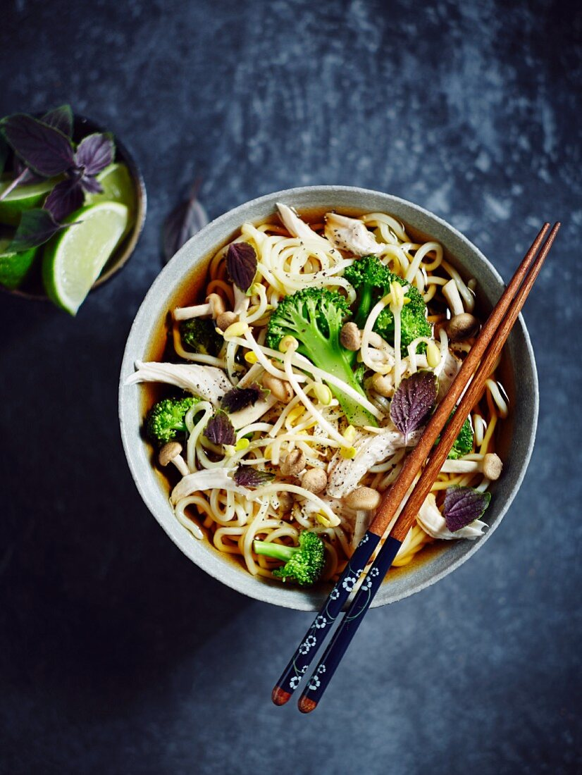 Egg noodle soup with chicken, broccoli, beansprouts, enoki mushrooms, Thai basil and limes (Asia)