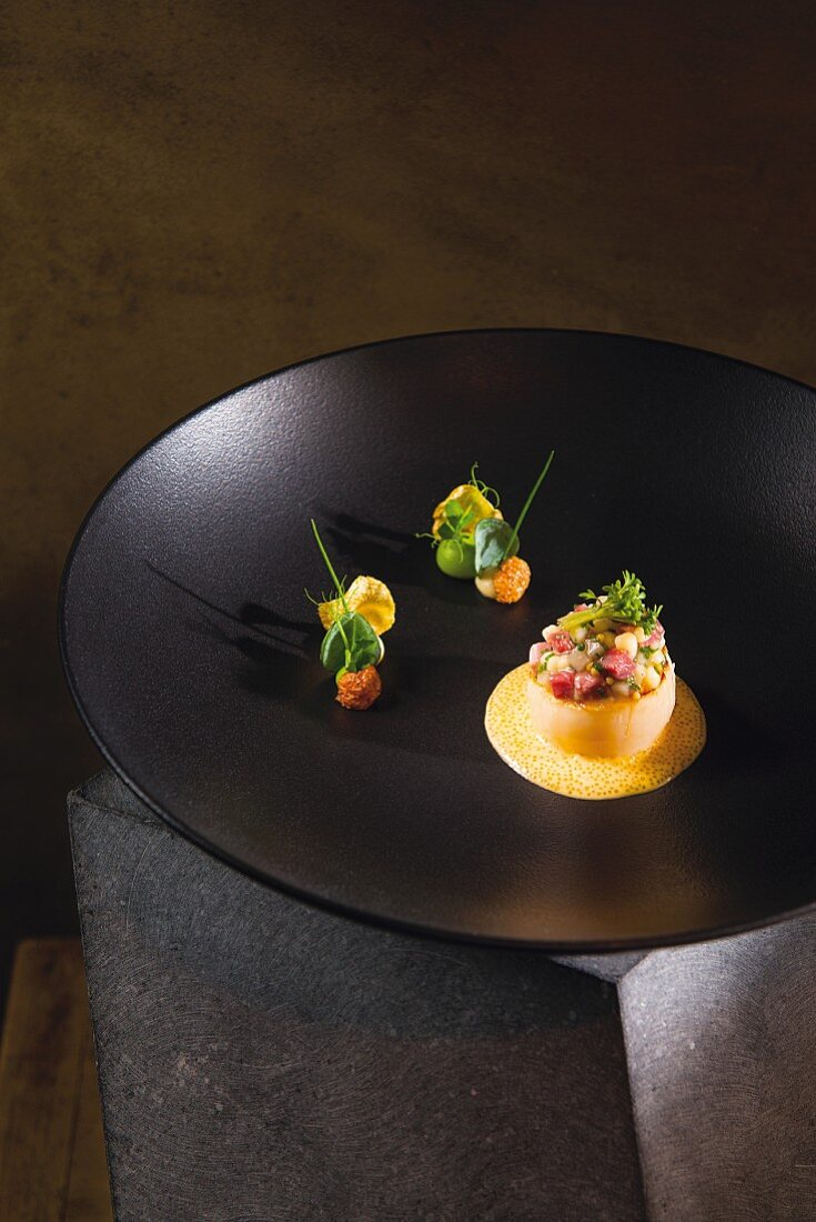 Scallops and Surhaxe (cured pork knuckle) a dish by Jan Hartwig, cook at the 'Atelier' in 'Bayerischen Hof' in Munich
