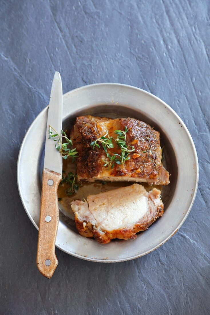 Slow roasted pork with thyme