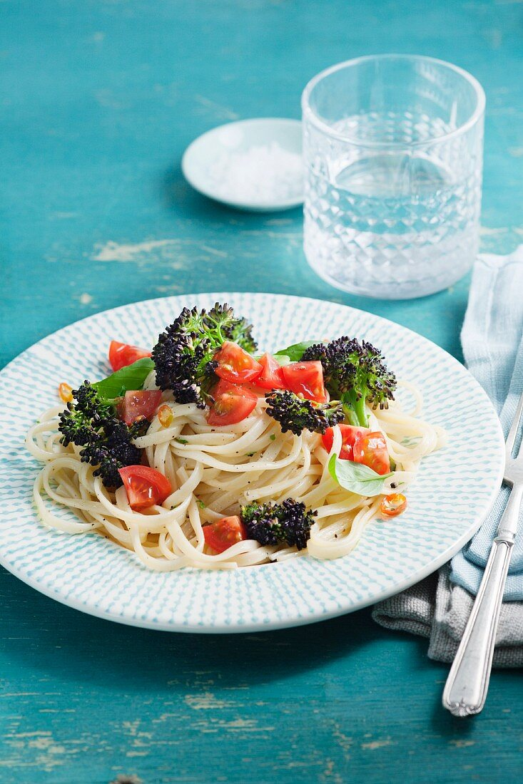 Linguine with purple broccoli, tomatoea, chilli and basil
