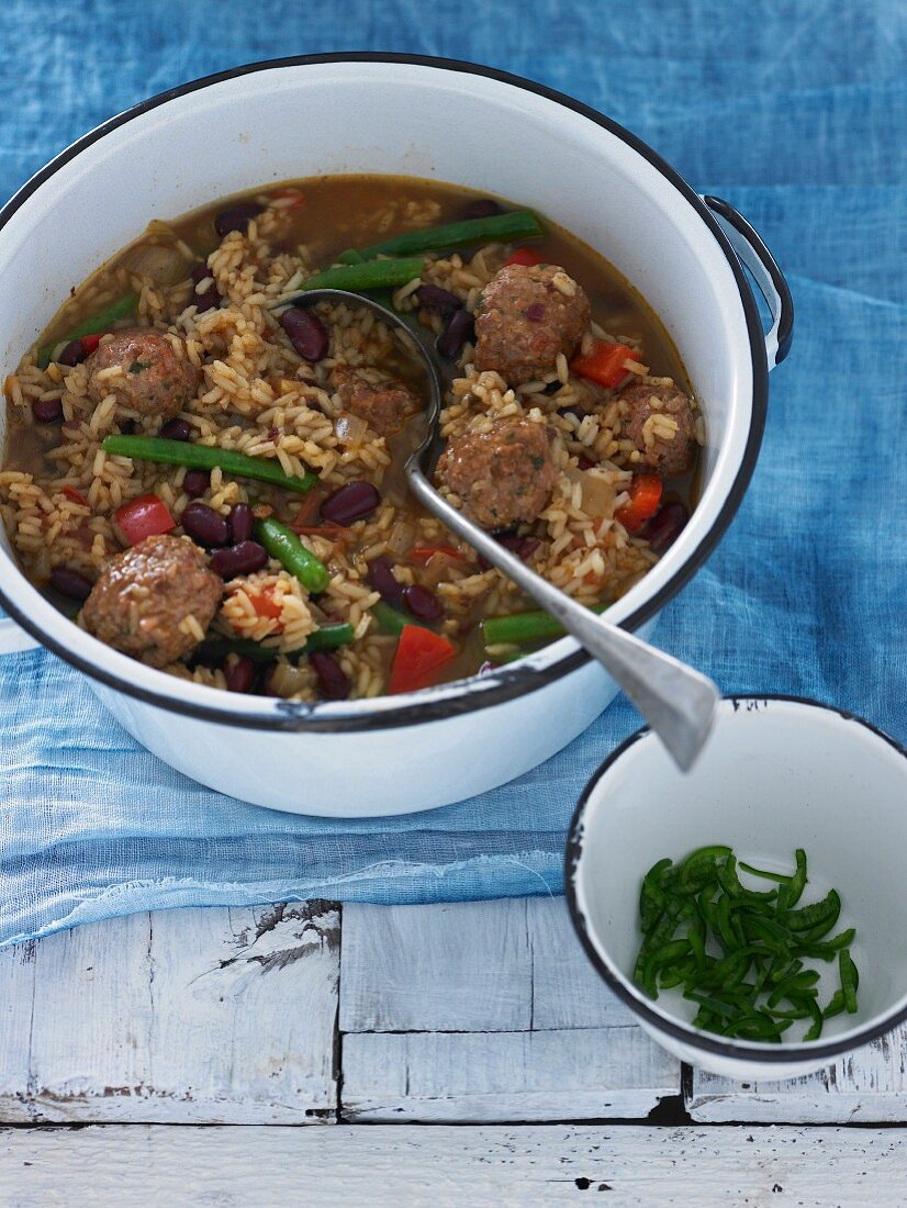 Meatballs with Beans & Rice
