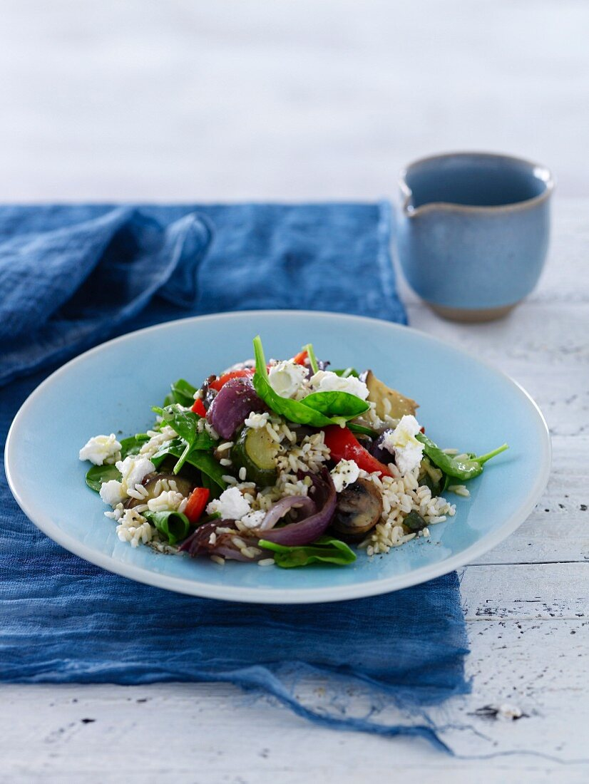 Brown Rice, Roasted Vegetable & Goats Cheese Salad