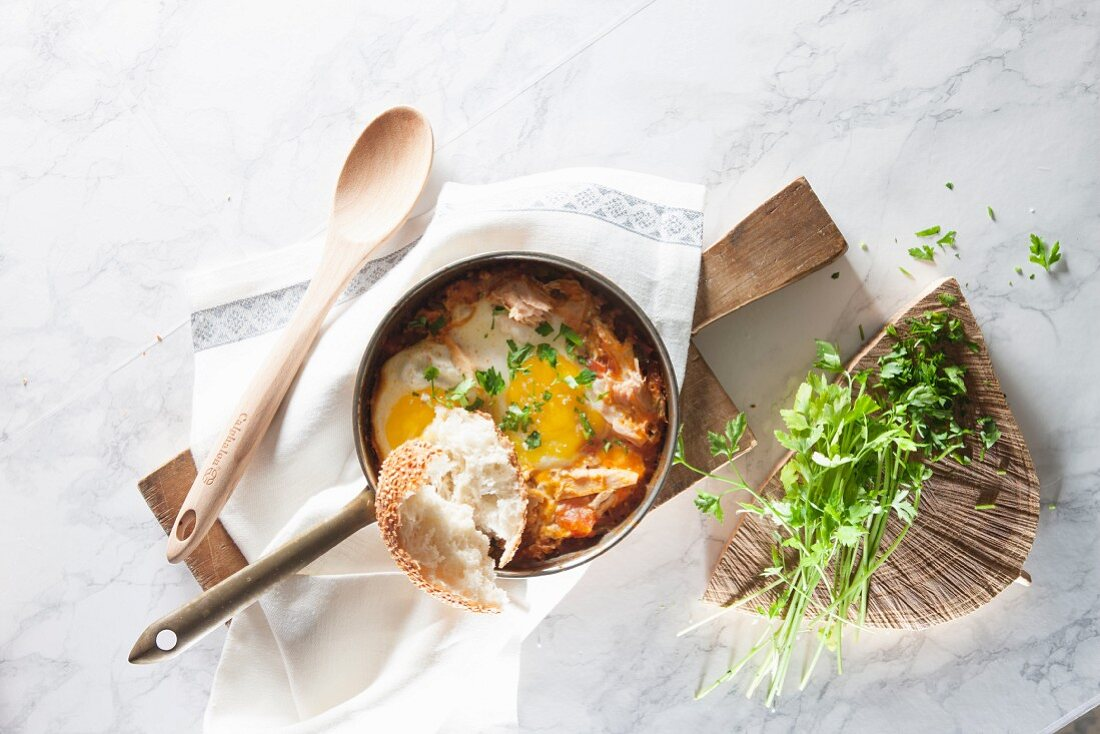 Shakshuka (poached egg in tomato sauce, North Africa)