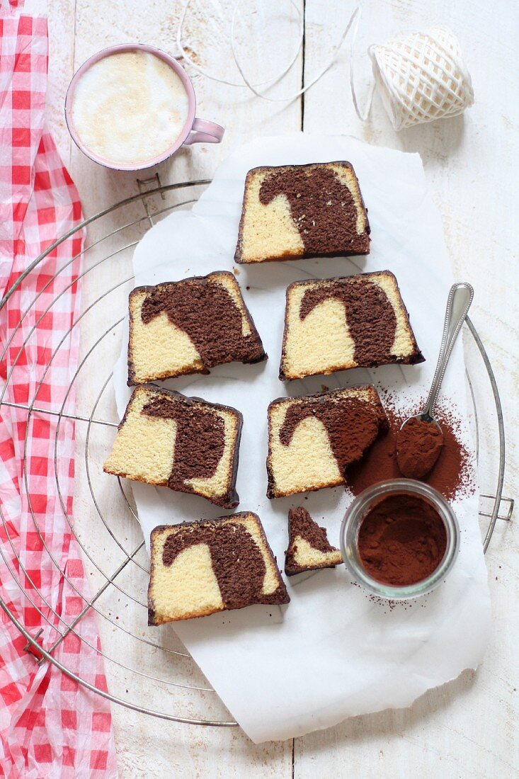 Slices of marble cake on a wire rack