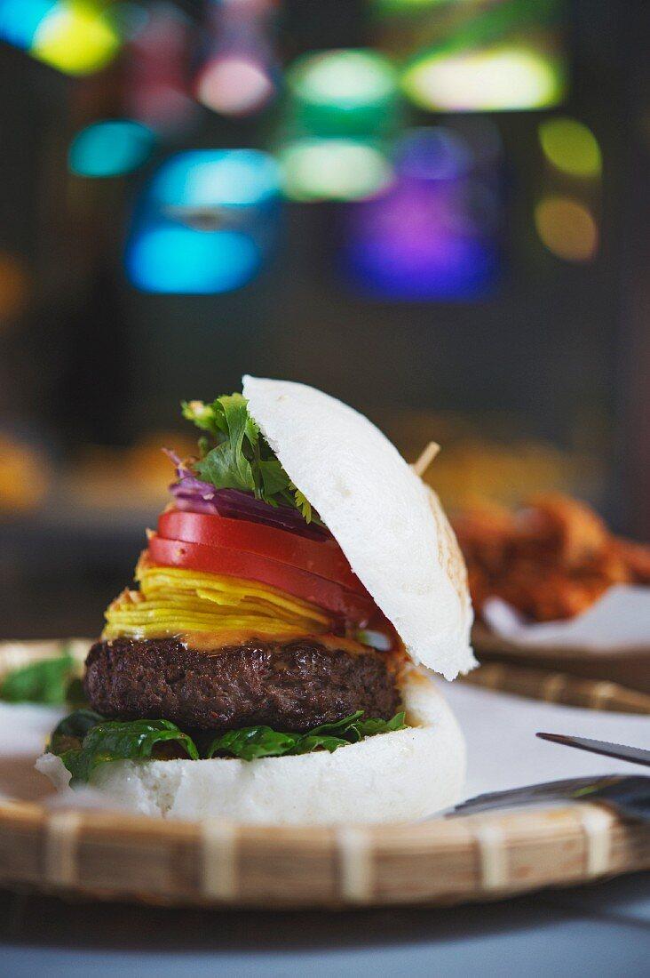 A bao burger in the restaurant Bun Bao, Berlin