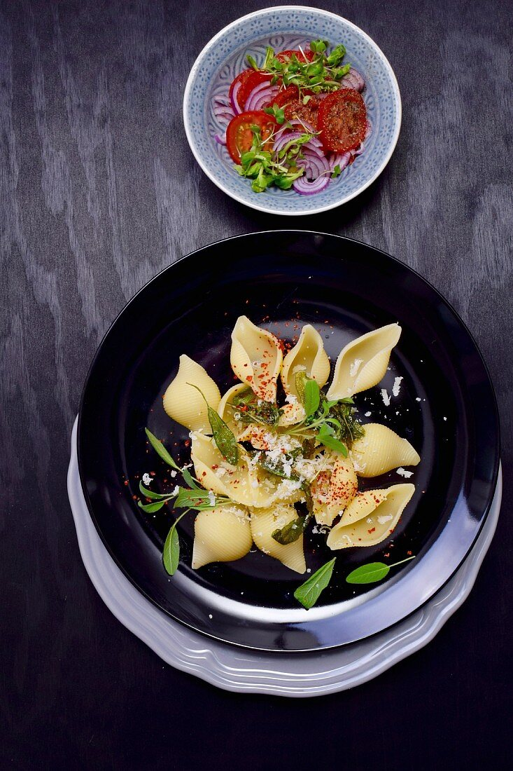 Shell pasta with sage and a tomato salad