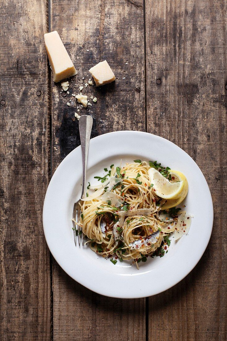 Anchovy, garlic and chilli linguine with Parmesan