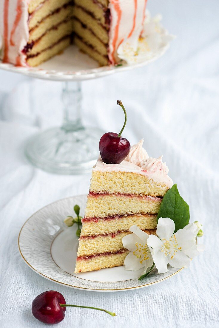 A slice of Victoria sandwich cake with fresh cherries