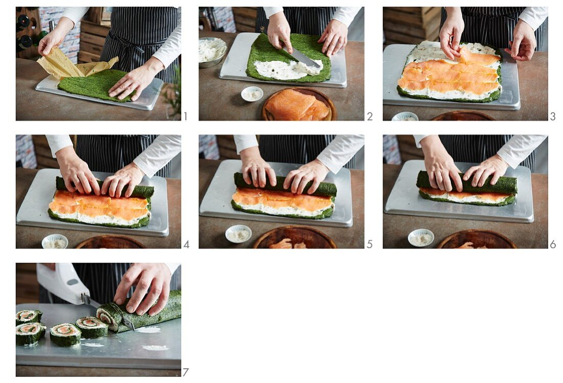 Spinach and salmon roulade being made