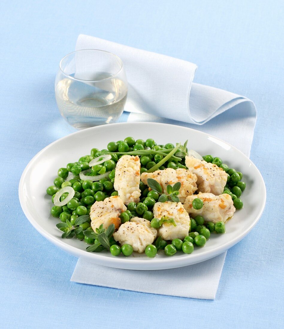Monkfish with baby peas
