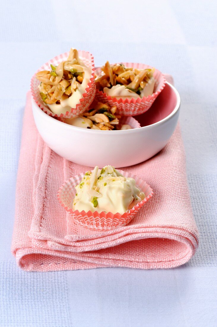 Almond rochers with white chocolate
