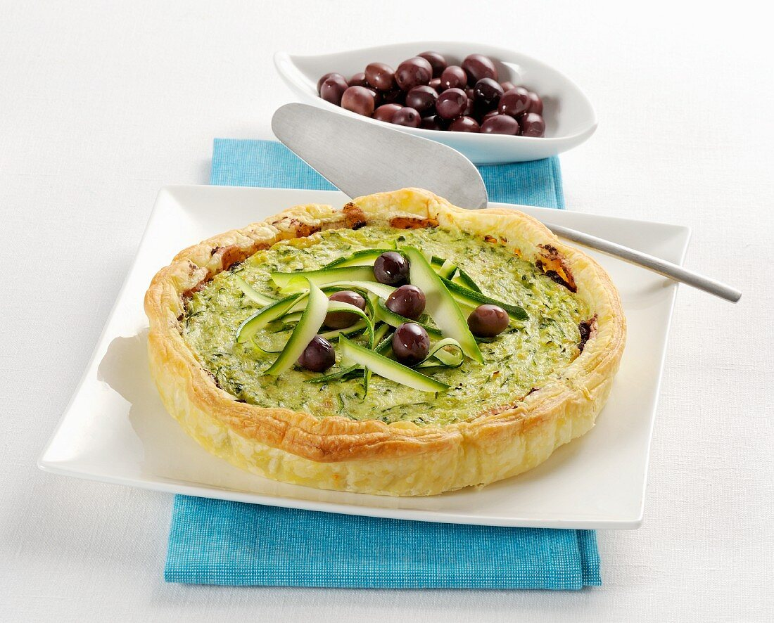 Courgette tart with olives