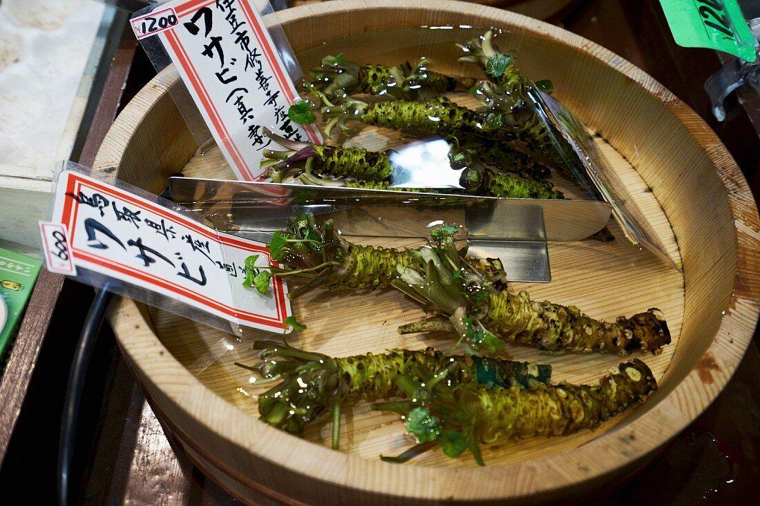 Root vegetables at Nishiki market in Kyoto, Japan