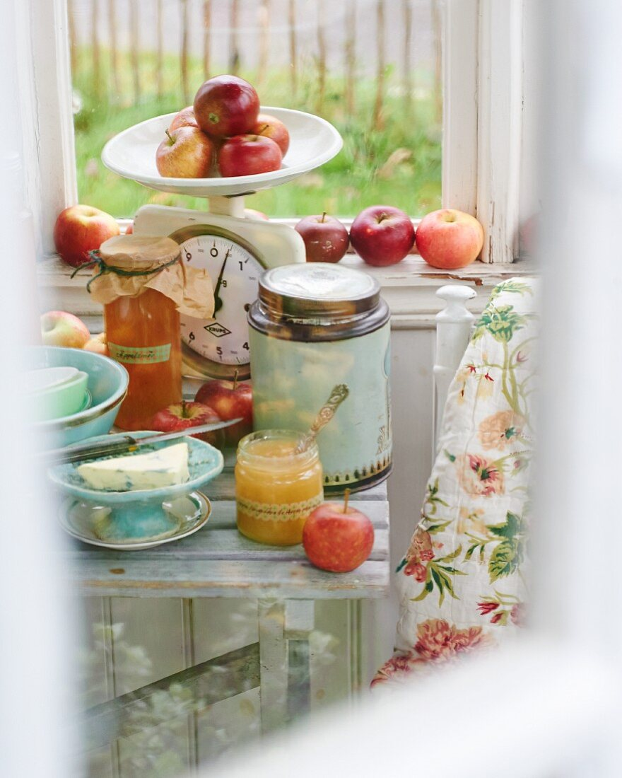 An arrangement of fresh apples and apple products