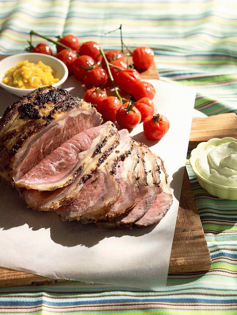 Posh picnic - Angus beef loin with cherry tomatoes and horseradish cream