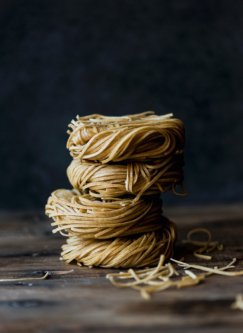 A stack of pasta nests