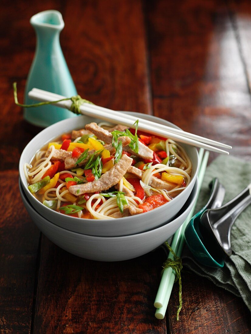 Miso noodle soup with pork (Asia)