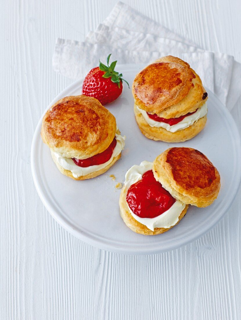 English scones with clotted cream and strawberry jam
