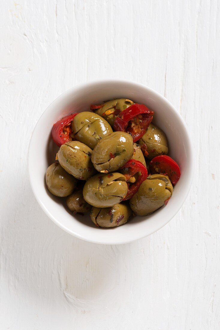 Olive schiacciate (crushed, pitted and preserved olives, Italy)