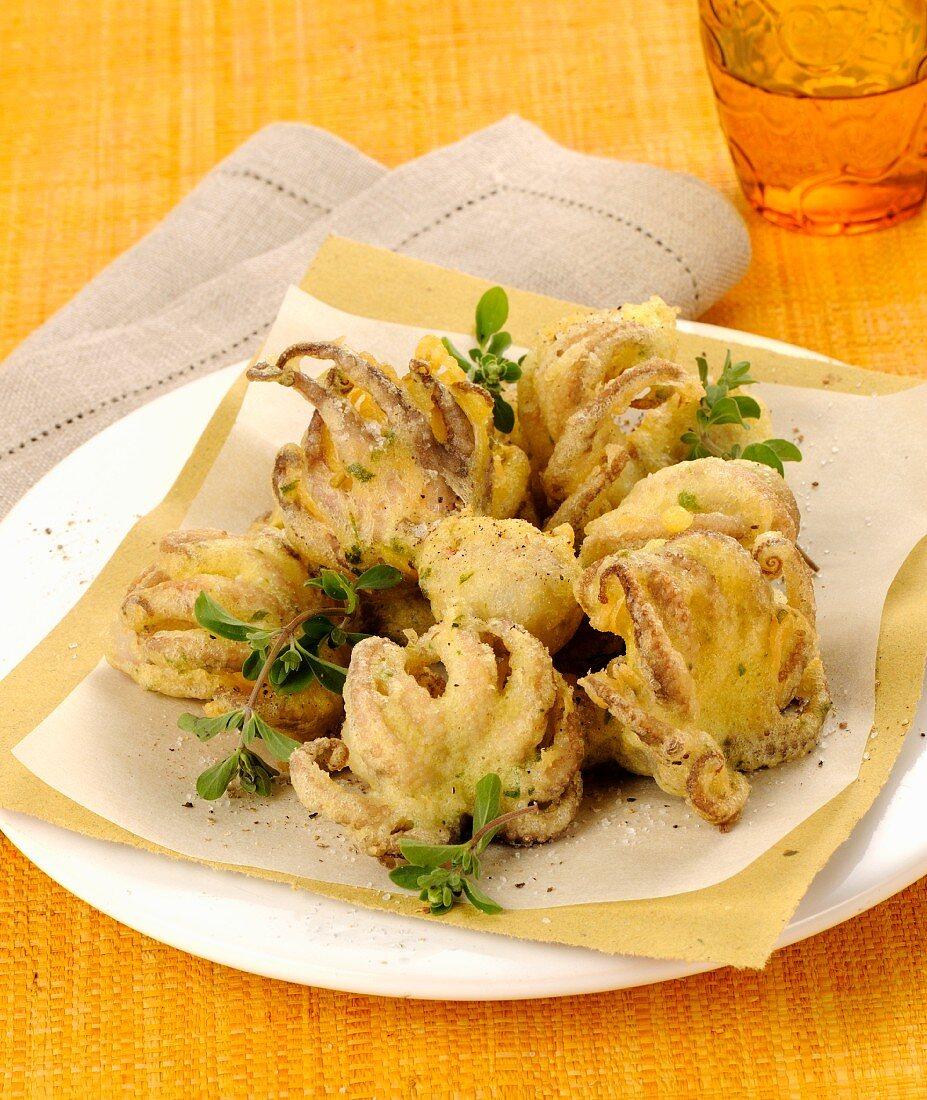 Polpo in pastella (baked octopus, Italy)