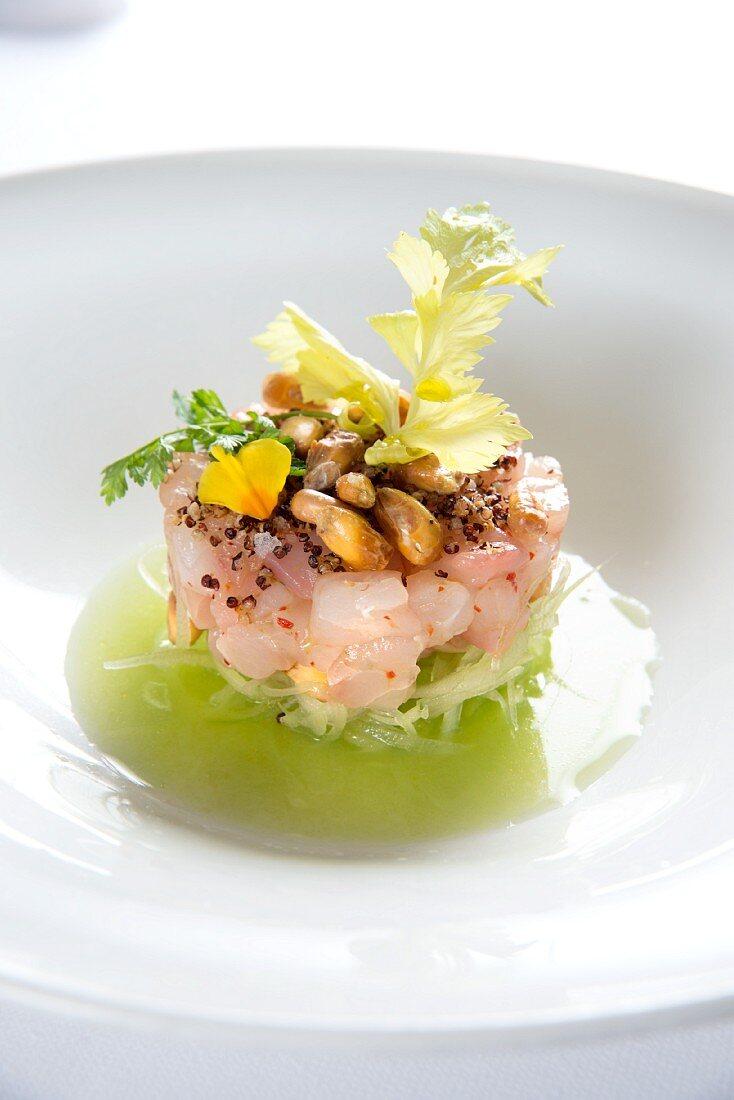 Tartare of yellowtail mackerel on julienned cucumber