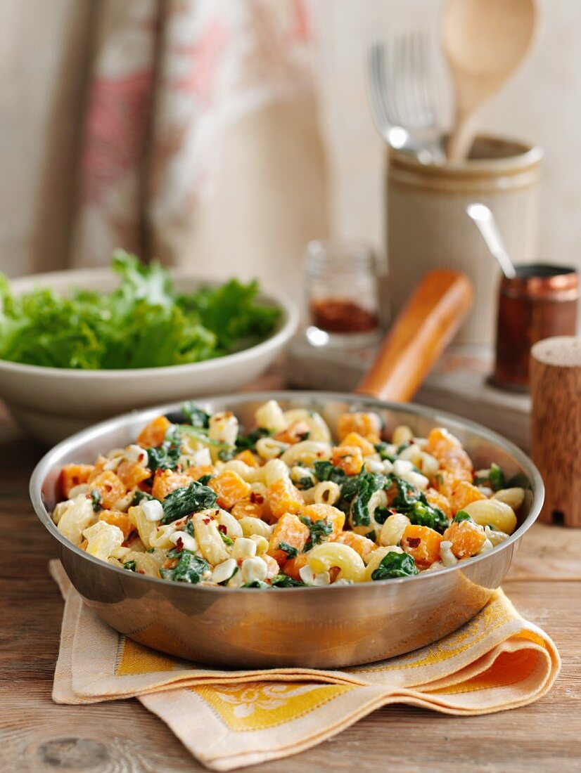 Pasta with butternut squash, sweet potatoes and cottage cheese
