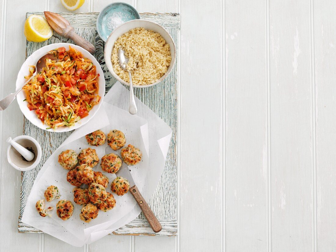 Spicy fishcakes with grated vegetables