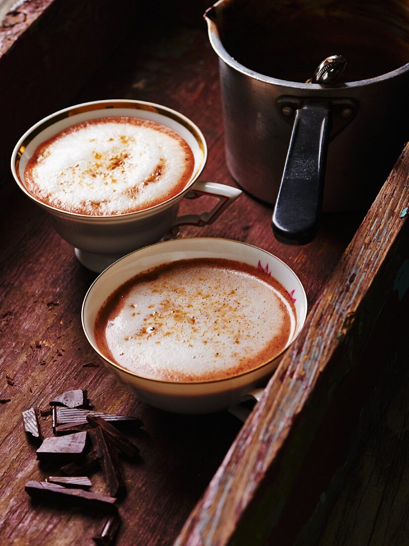 Hot chocolate with ginger and milk foam