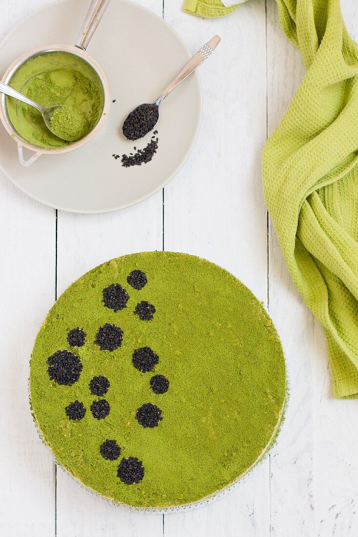 Matcha cake with sesame seeds, seen from above