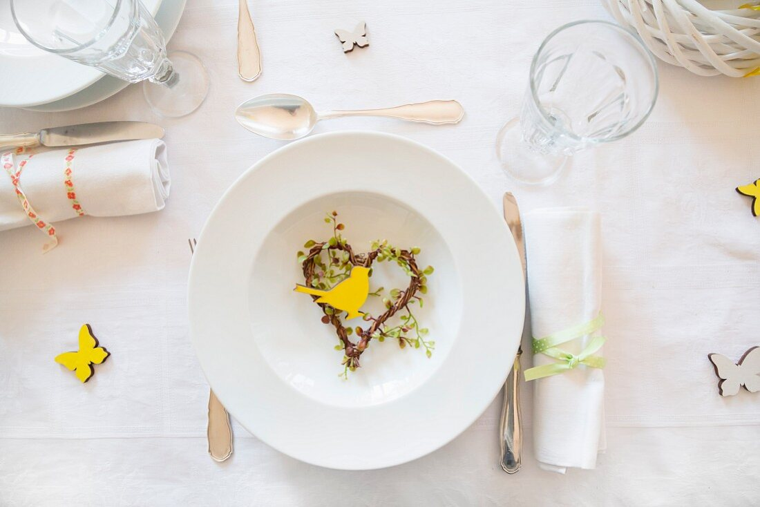Place setting on spring dining table