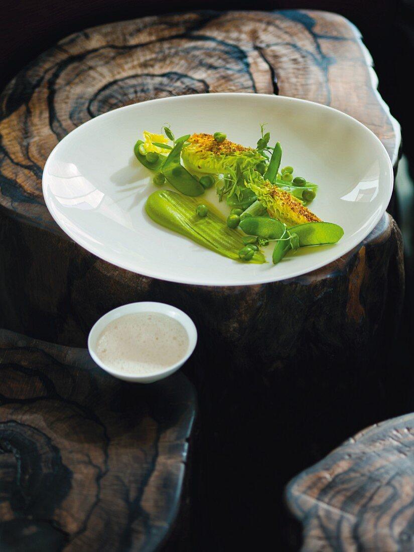 Peas, mange tout, lettuce and verbena, Restaurant Kai3 at the Hotel Budersand, Sylt