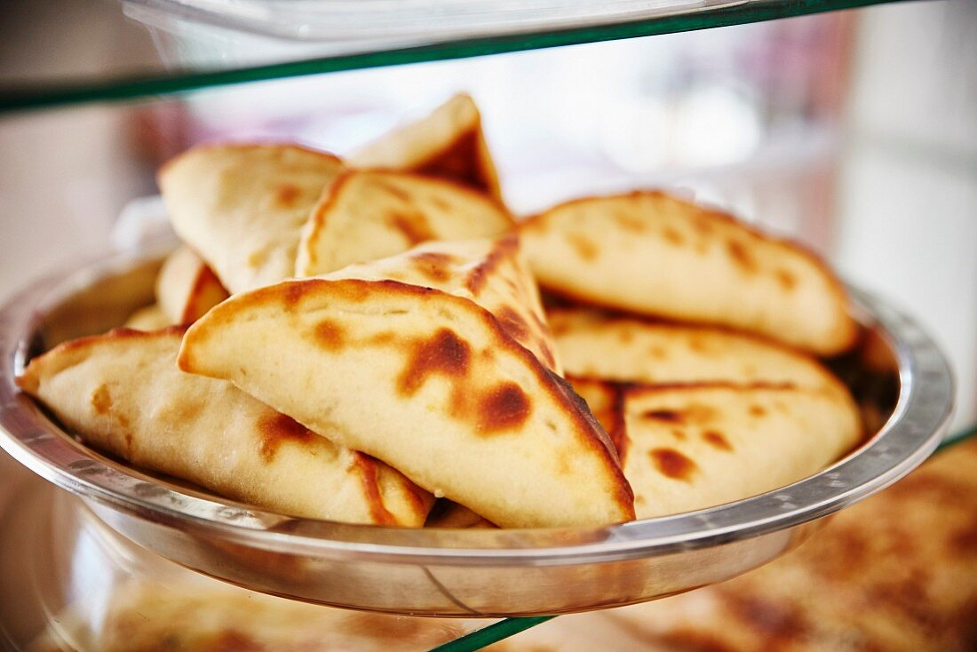 Arabian pastries in a display cabinet
