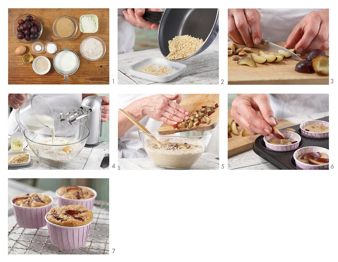 Plum muffins with sesame seeds being made