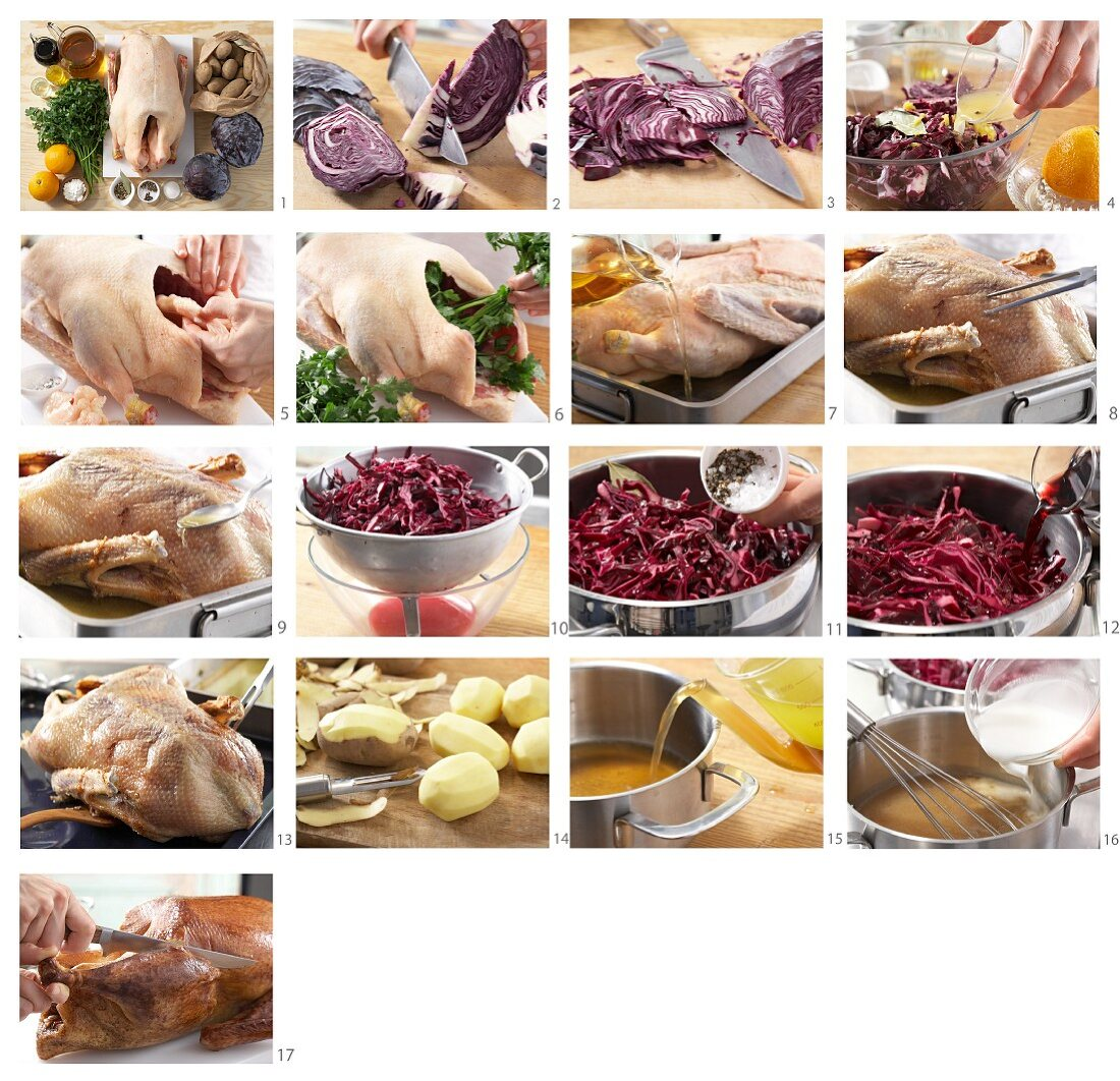 Roast goose with red cabbage and salted potatoes being made