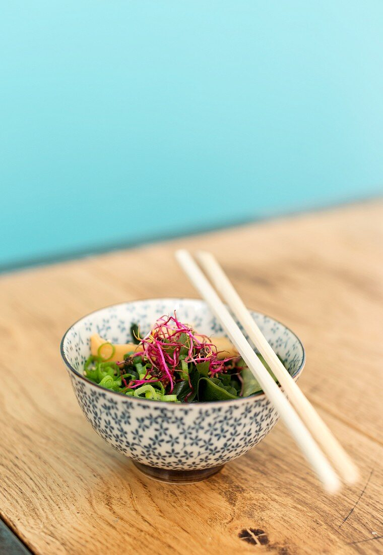 Japanese salad with red bean sprouts