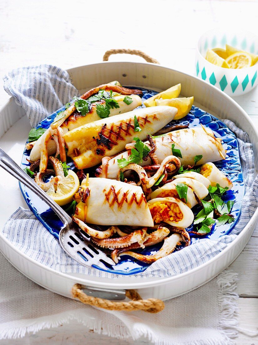 Barbecued squid stuffed with chorizo risotto
