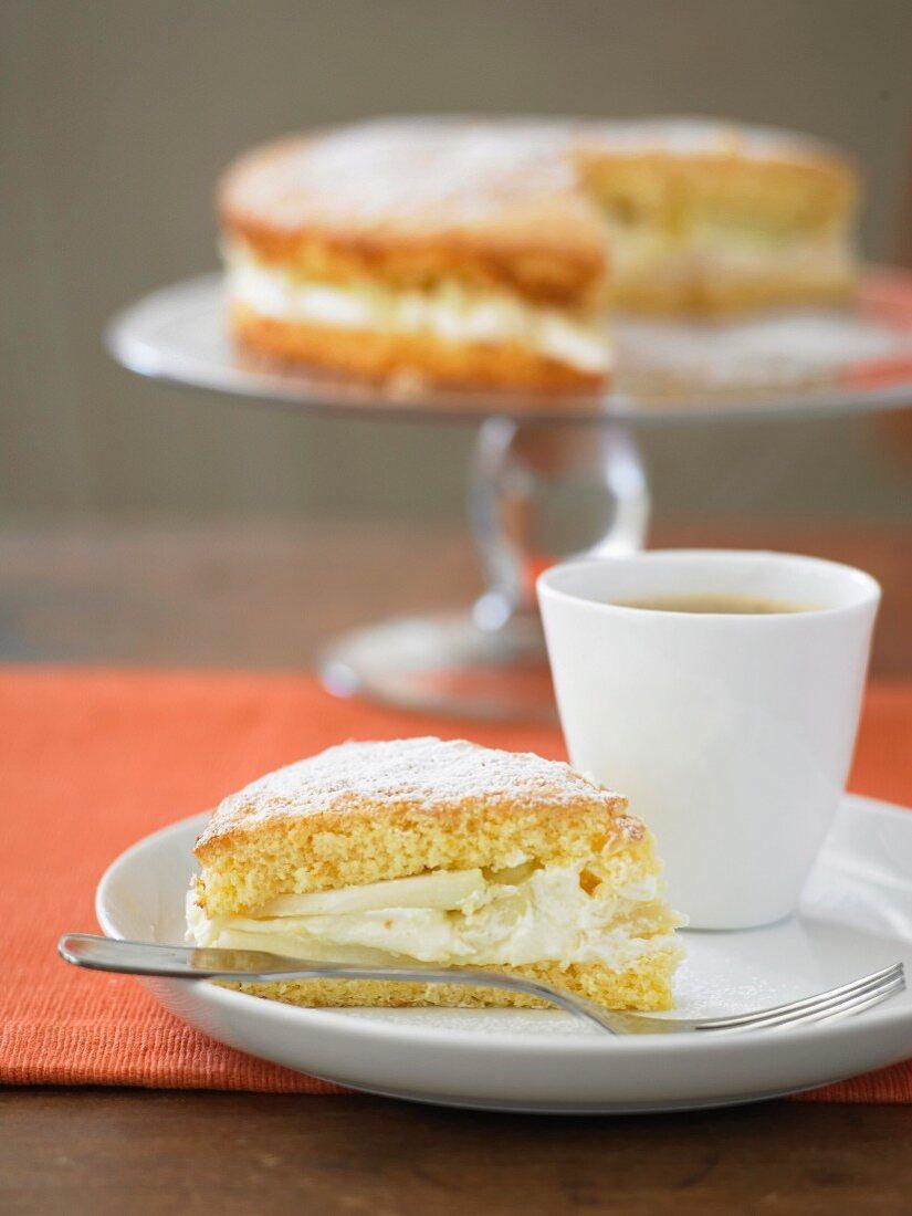 Semolina Cake with Pears and Honey Cream