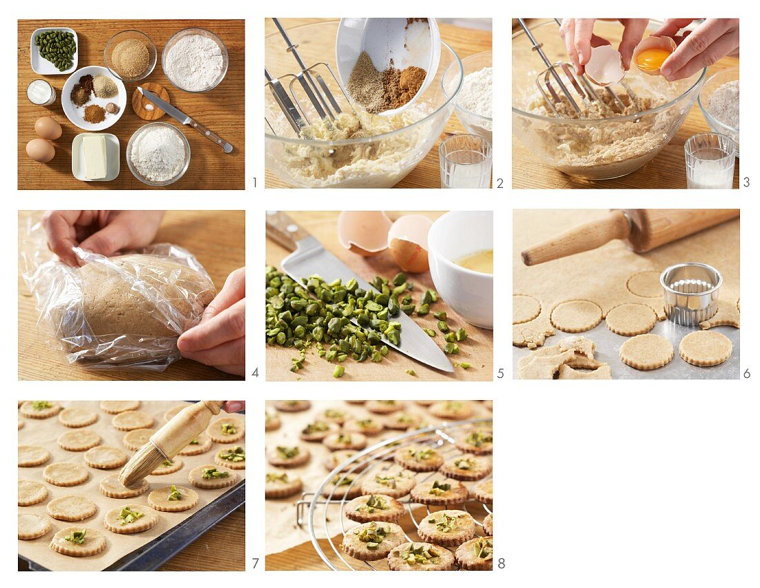 Spekulatius (German Christmas biscuits) with pistachio nuts being made