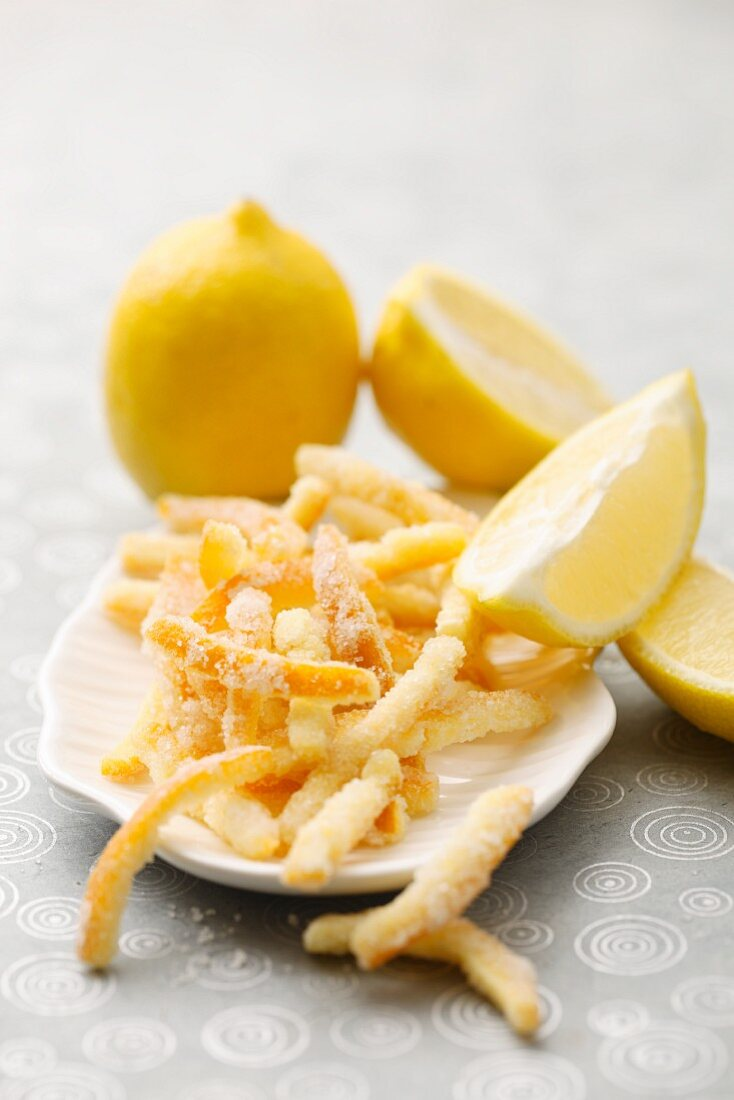 Sugared lemon zest