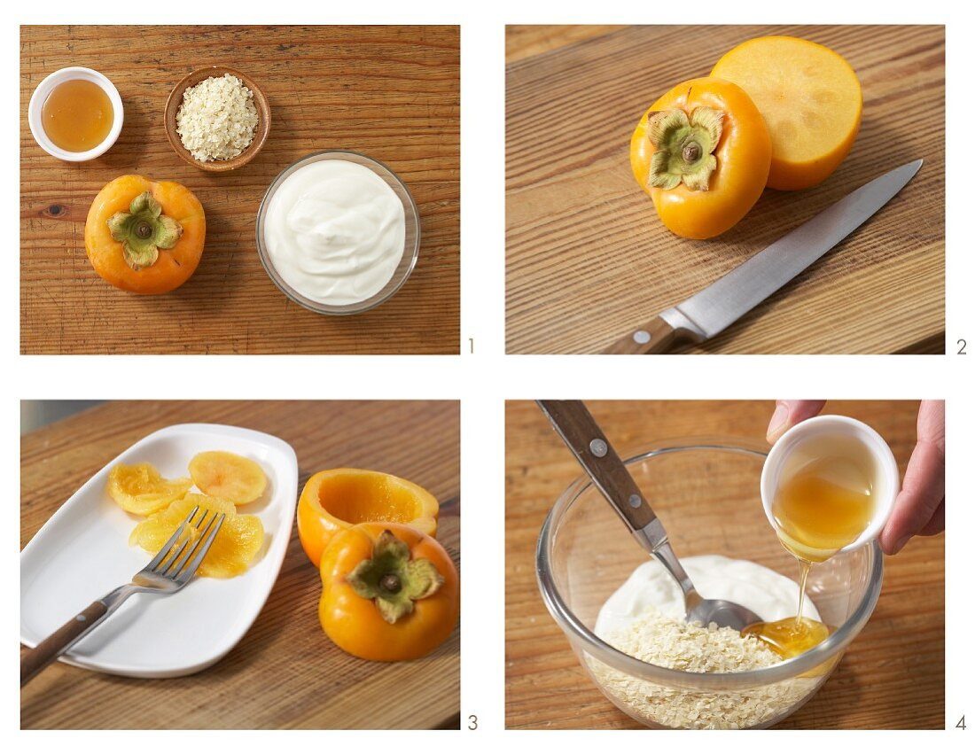 Yoghurt and honey muesli served in a persimmon being made