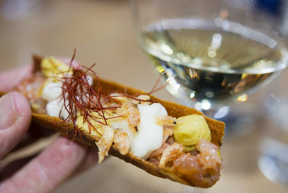 Pinchos with white wine (Rueda, Spain)