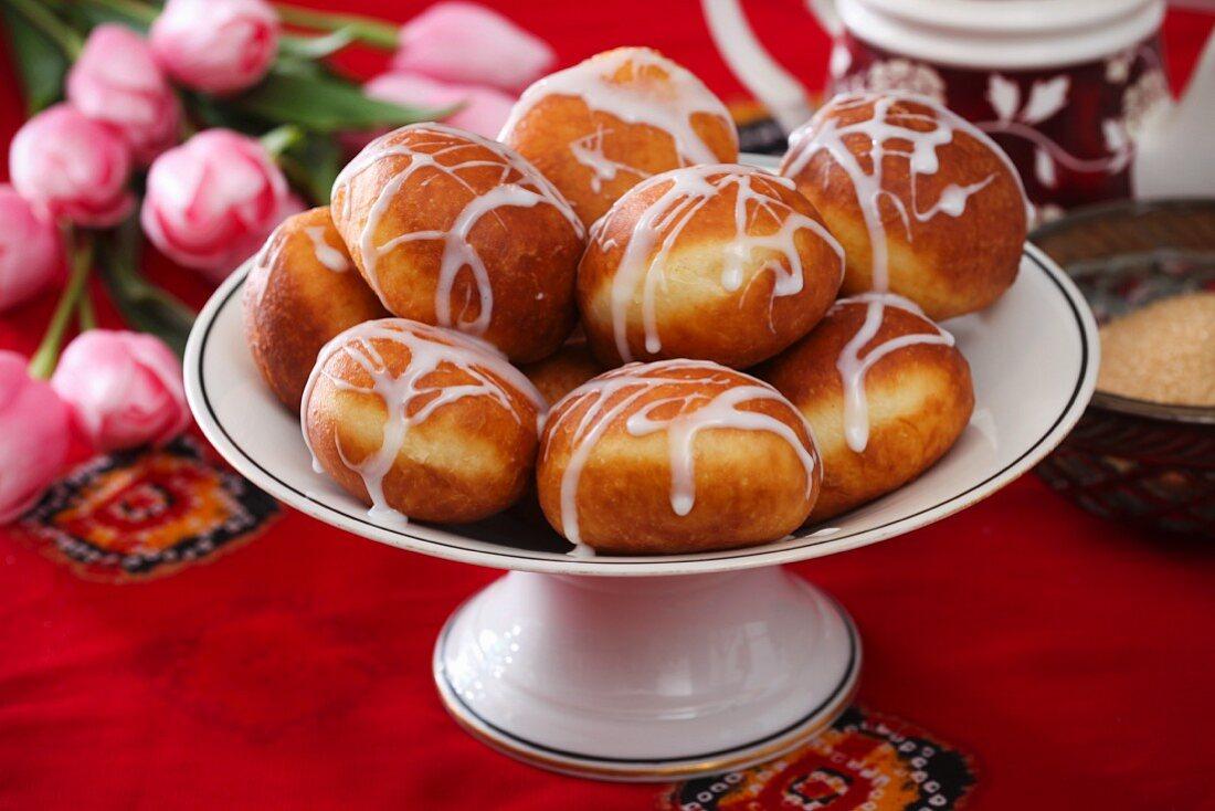 Mini doughnuts with white icing