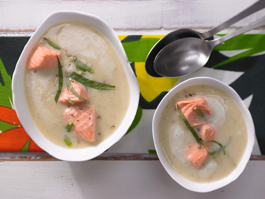 Cream of potato soup with salmon