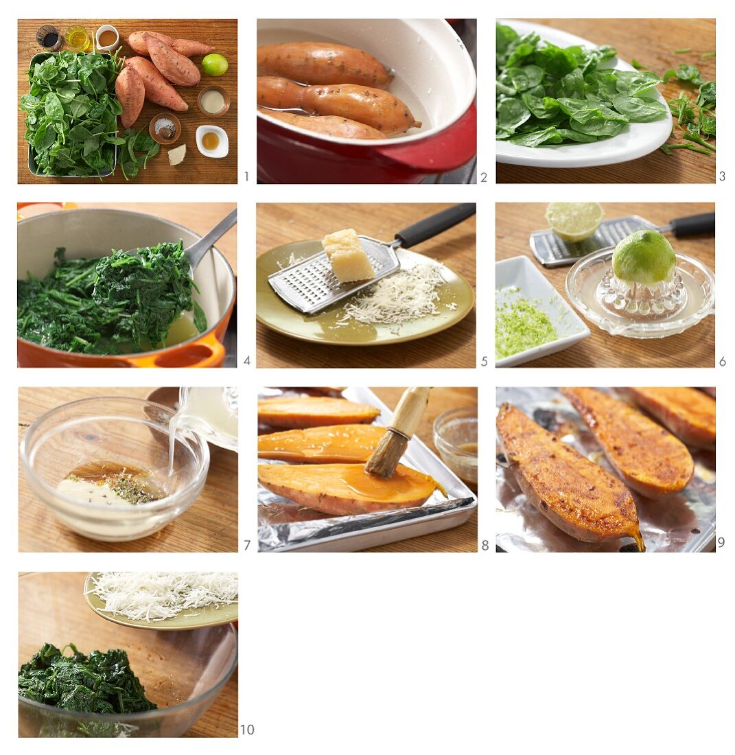 Oven baked sweet potatoes with baby spinach being made
