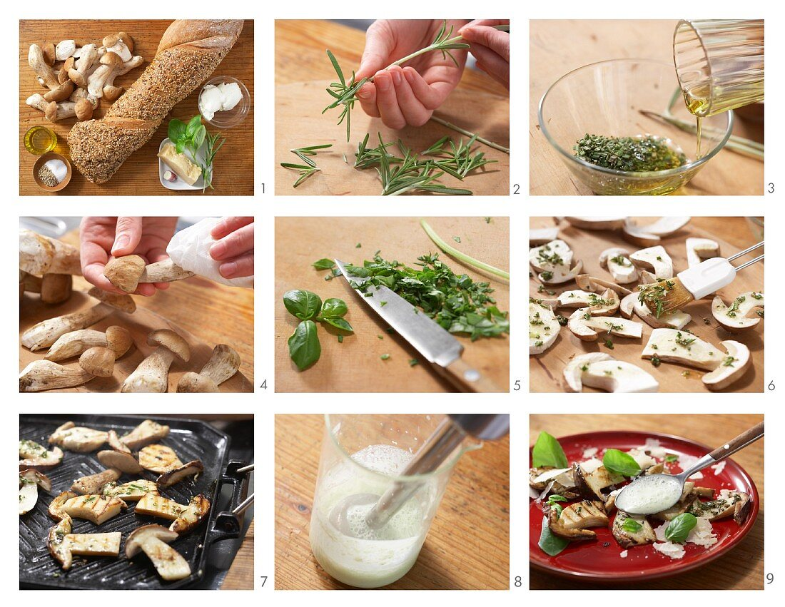 Grilled porcini mushrooms with pecorino cheese and basil foam being made