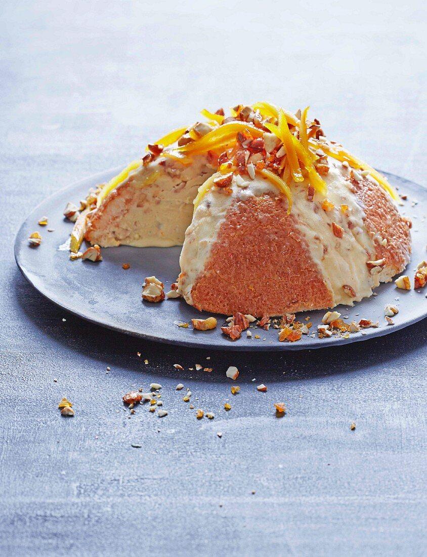 Cassata with sponge cake, and almond and orange ice cream, sliced