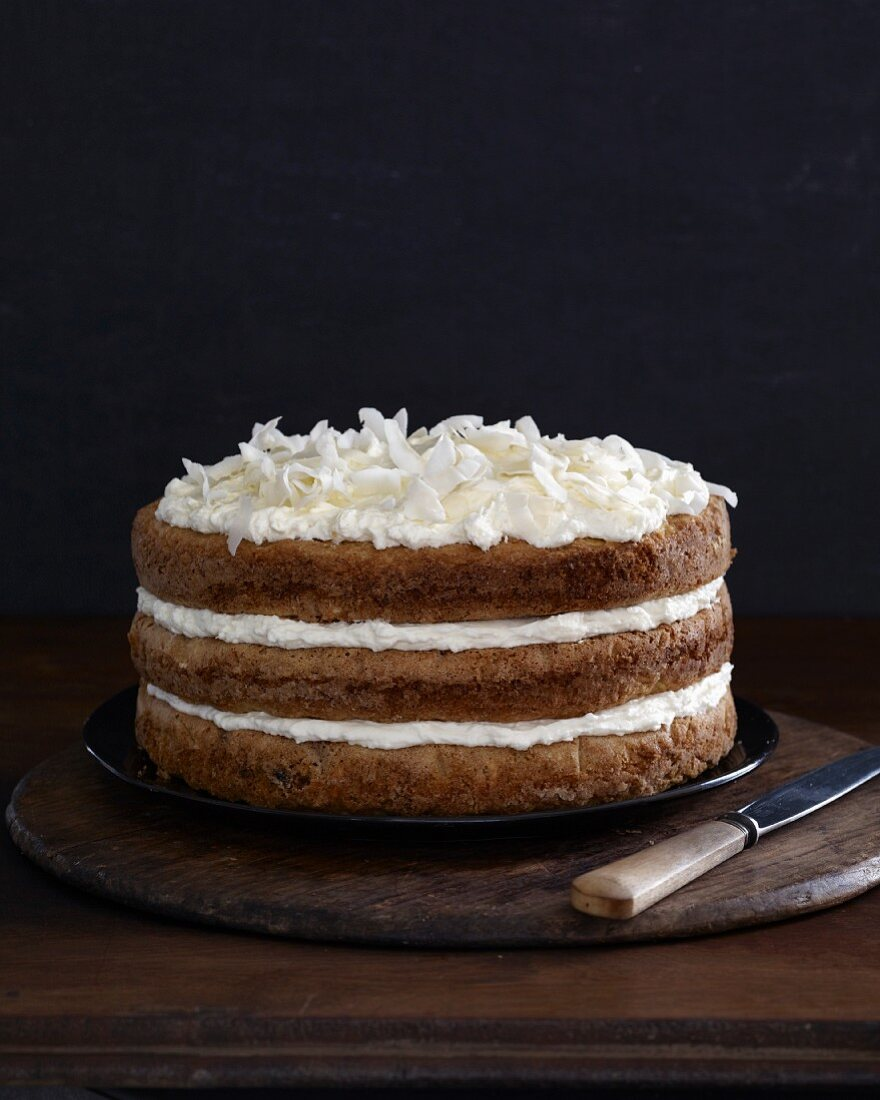 Layered parsnip cake with coconut